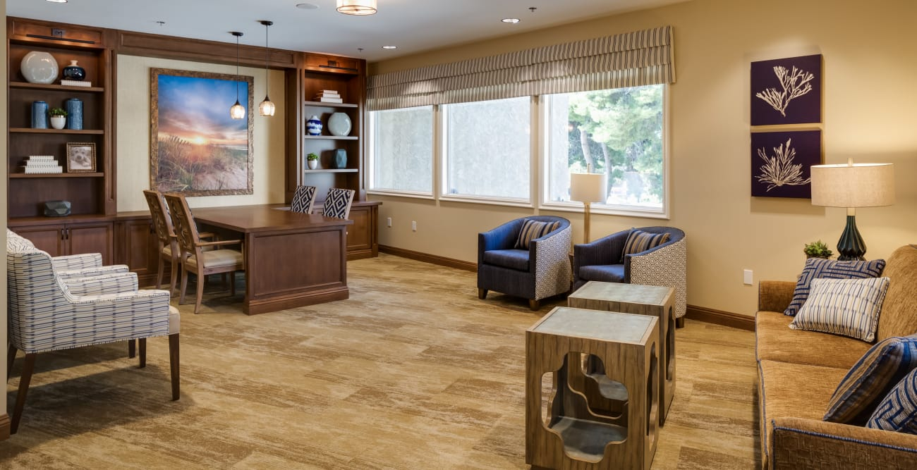 Reading room for our residents at The Montera in La Mesa, California