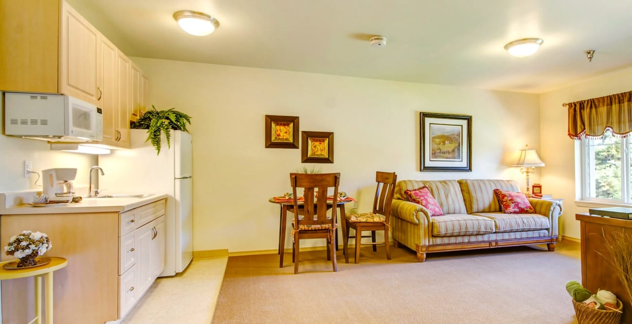 Kitchen and living room at The Commons on Thornton in Stockton, California