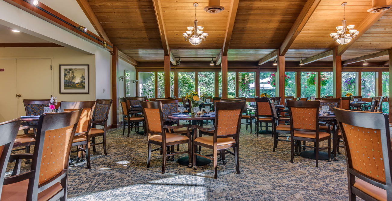 Spacious dining room at The Firs in Olympia, Washington