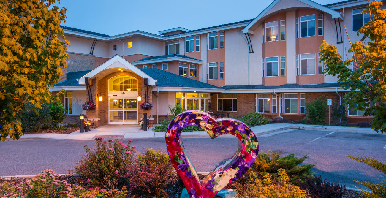 Heart at Front of Building at Hillcrest of Loveland in Loveland, Colorado