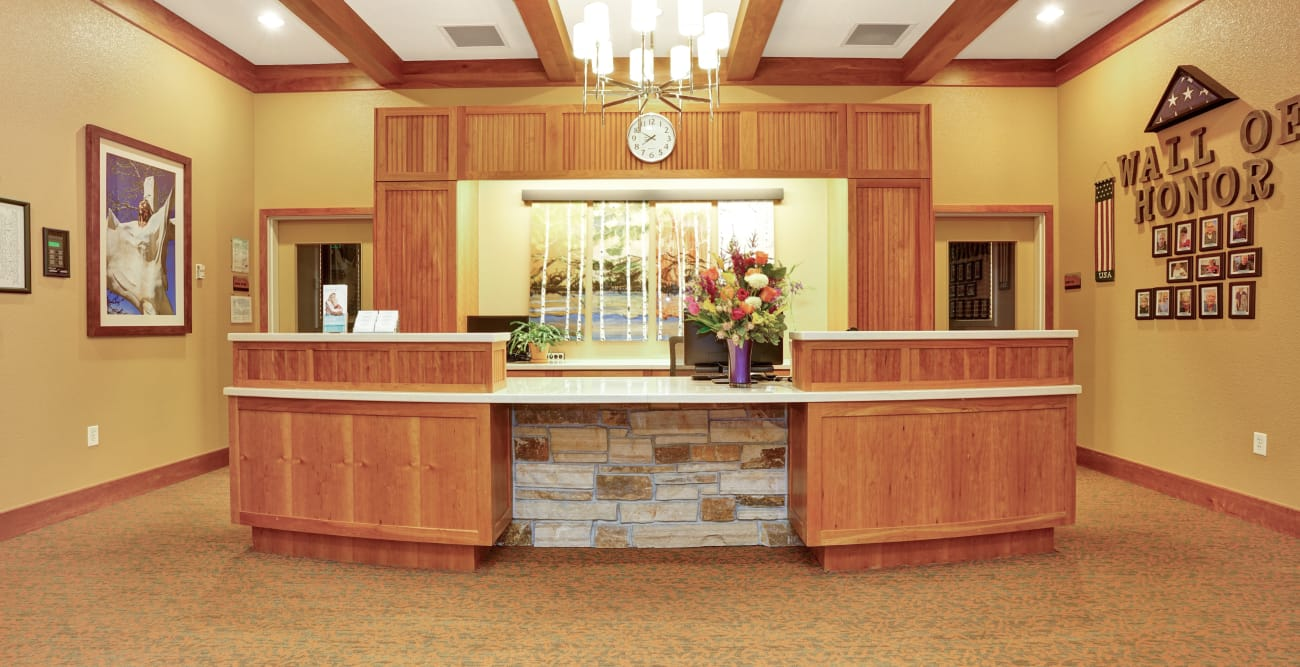 Large front desk at Seven Lakes Memory Care in Loveland, Colorado