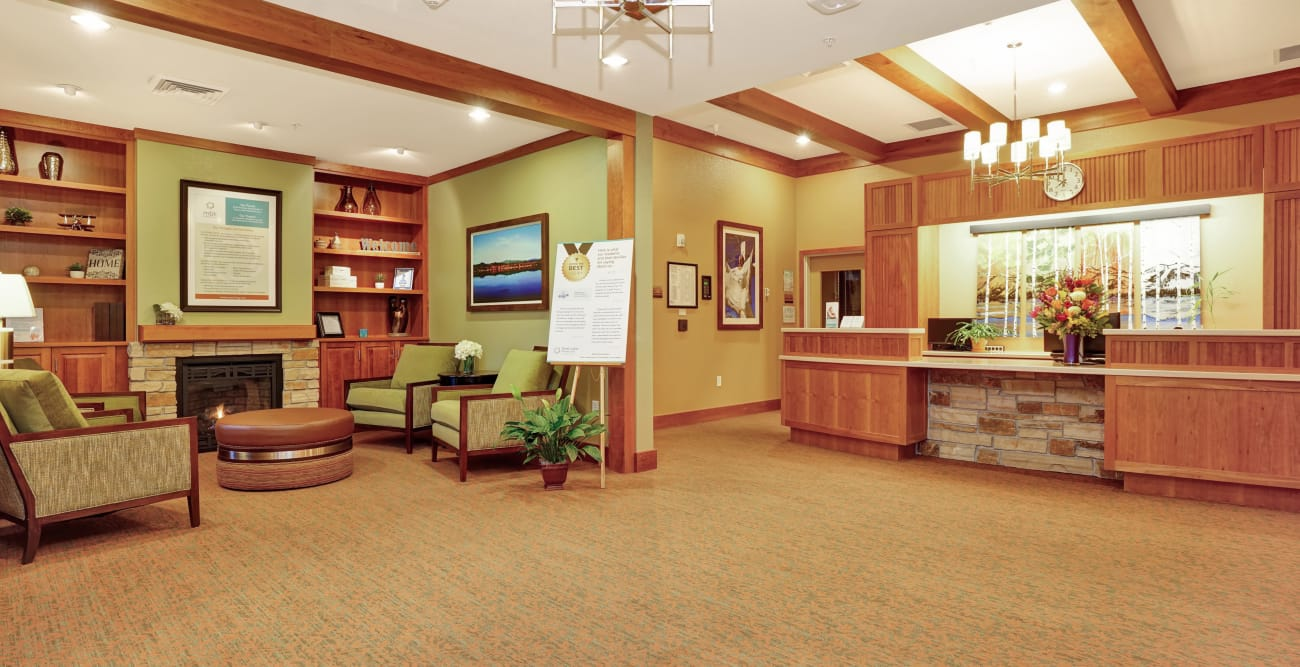 Waiting room adjacent to front desk at Seven Lakes Memory Care in Loveland, Colorado