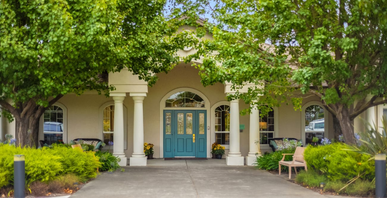 entrance at MuirWoods Memory Care