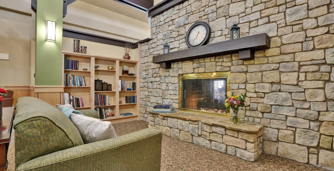 fireplace seating at Crystal Terrace of Klamath Falls