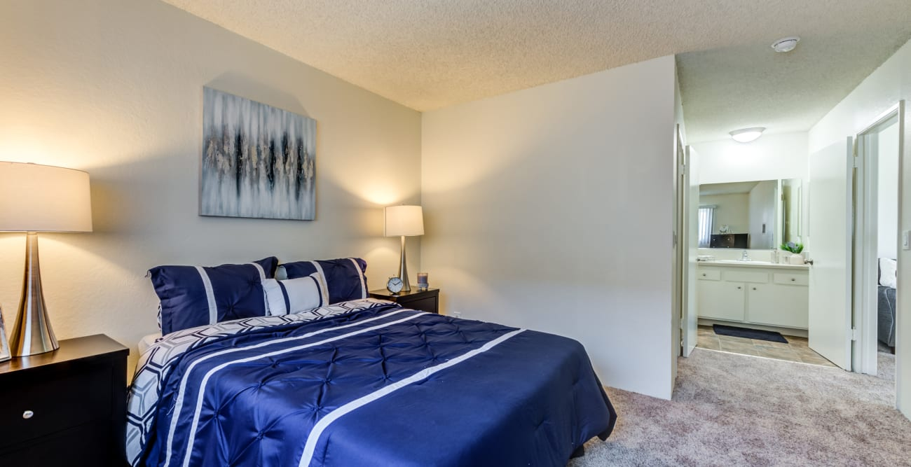 Master bedroom with private bathroom at The Crossroads in Van Nuys, CA