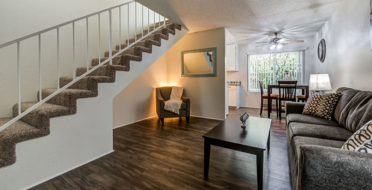 Entryway and stairs in townhome at The Embassy Apartments in Sherman Oaks, California