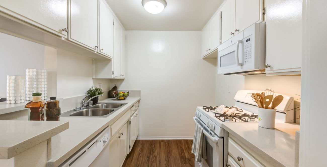 Galley kitchen at The Embassy Apartments in Sherman Oaks, California