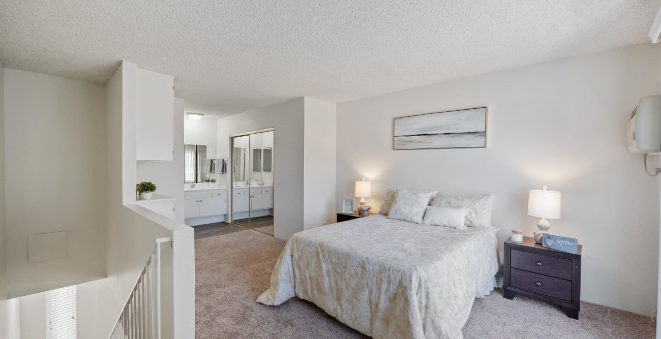 Upstairs master bedroom at The Esplanade in Lake Balboa, California