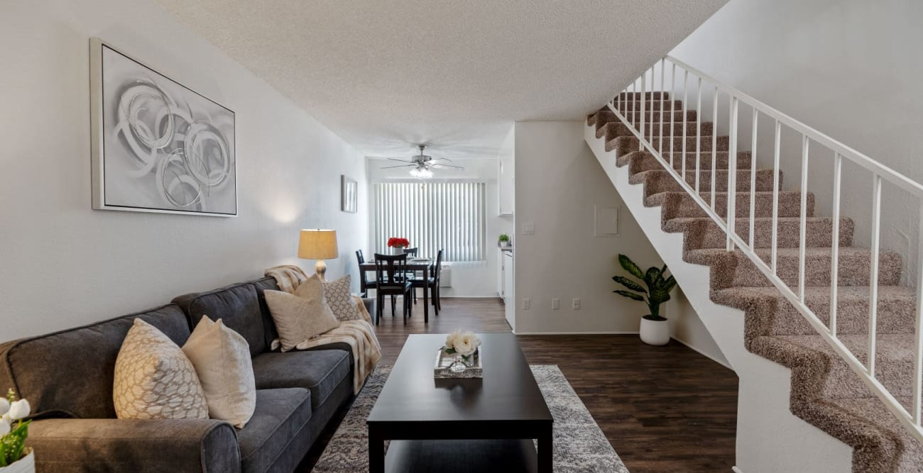 Open living space with staircase to second floor at The Esplanade in Lake Balboa, California