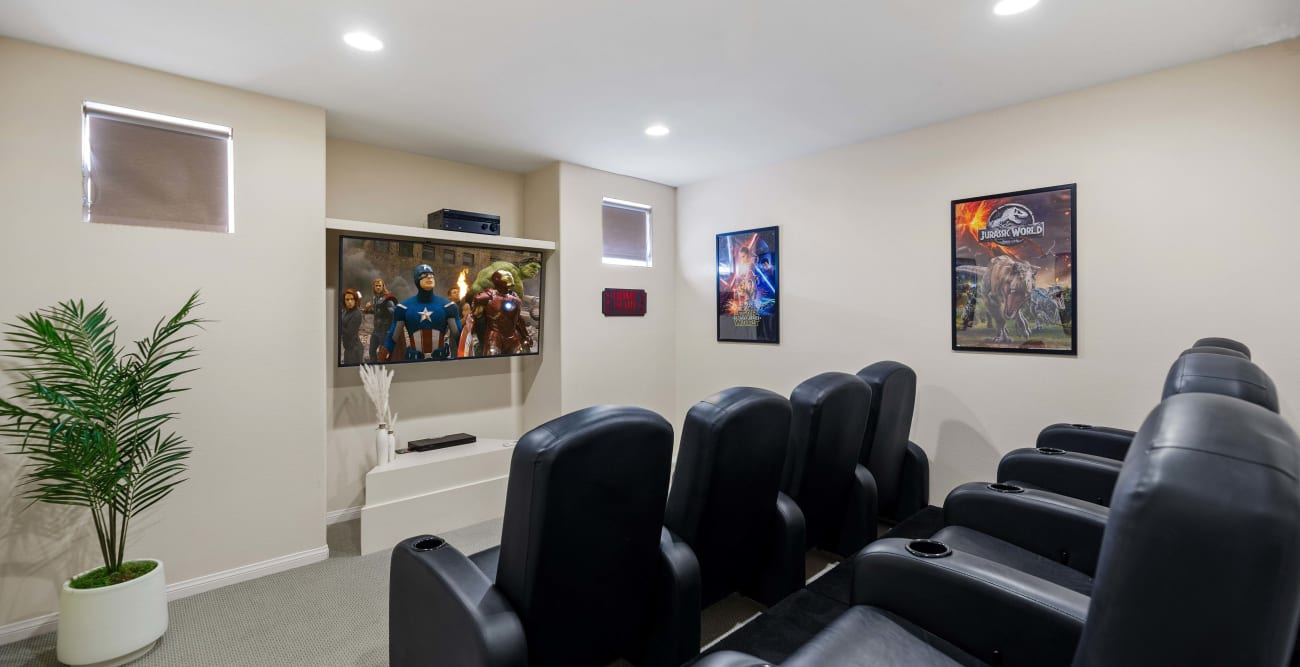 Media room with widescreen TV at The Villagio in Northridge, CA