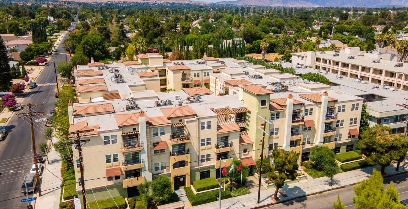 Aerial shot of The Villagio in Northridge, California