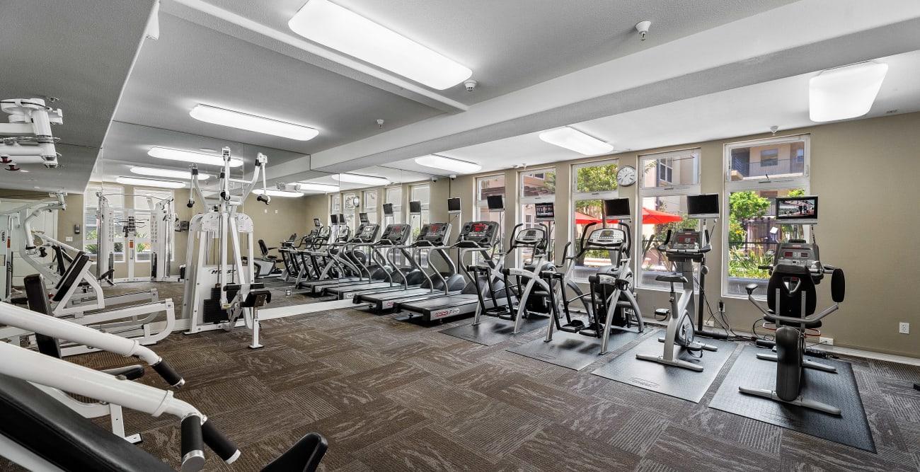 Fitness center at The Villagio in Northridge, CA