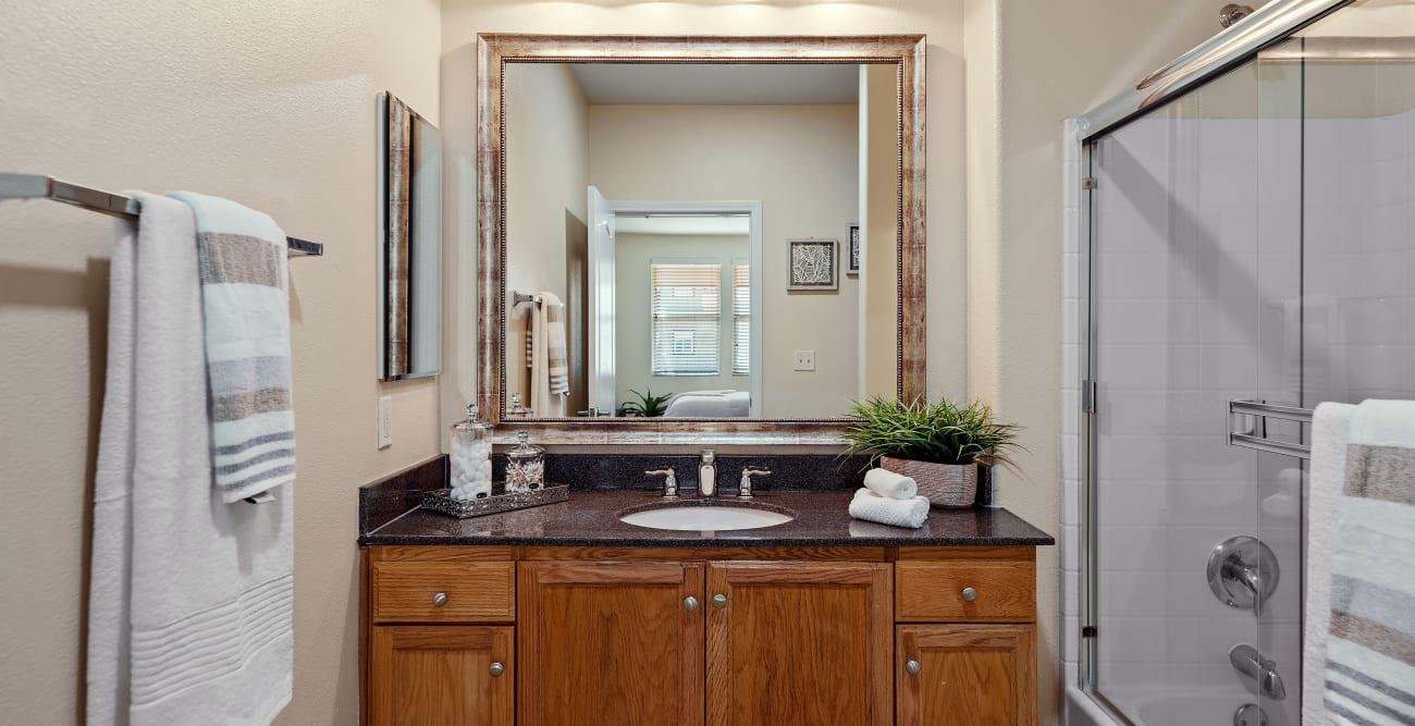 Model bathroom at The Villagio in Northridge, California