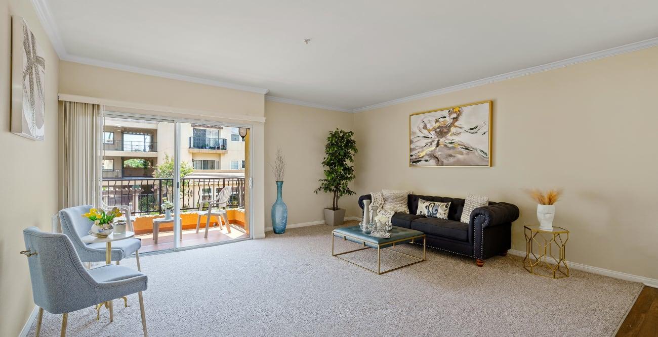 Spacious open living room area at The Villagio in Northridge, CA