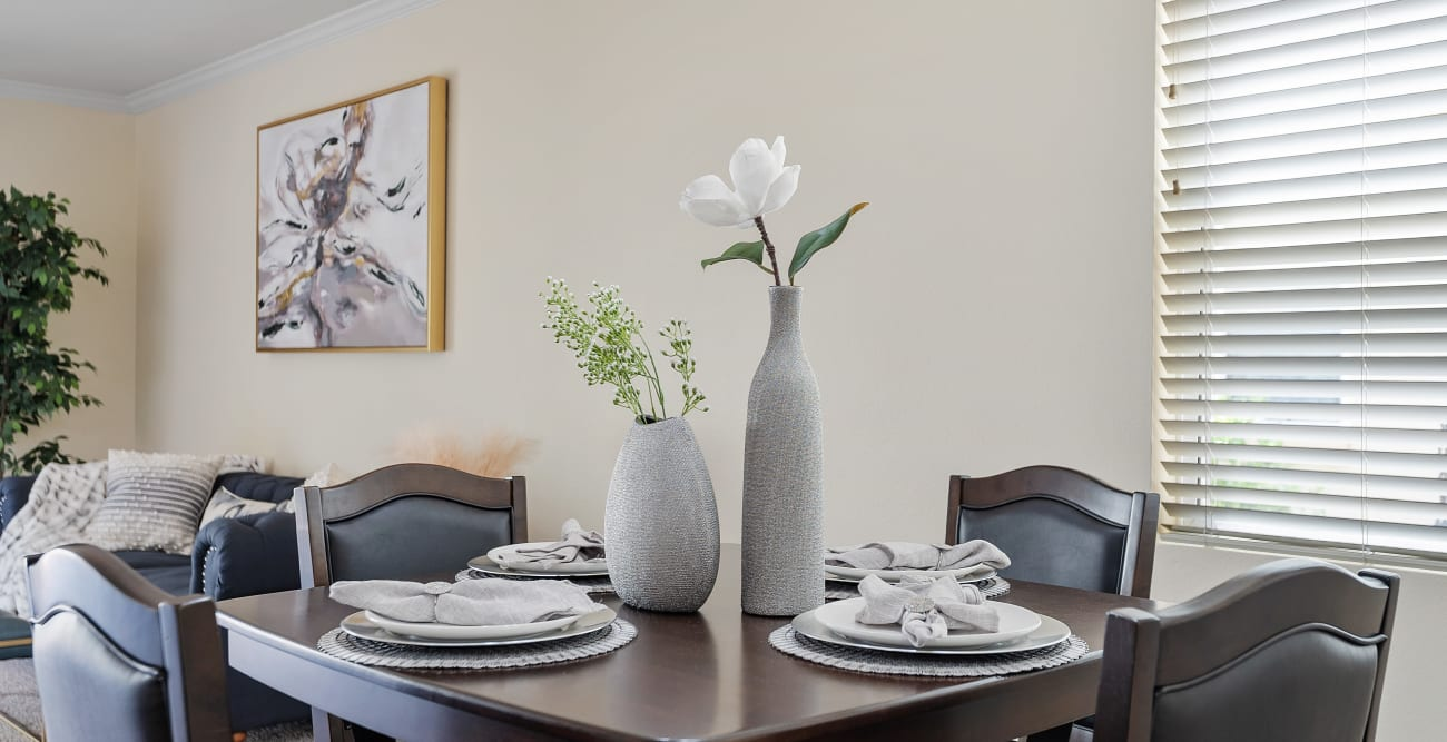 Dining table in model home at The Villagio in Northridge, California