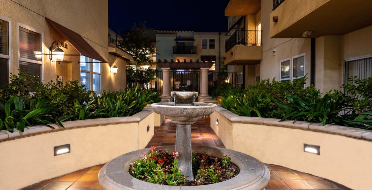 Walkway fountain in the evening at The Villagio in Northridge, California