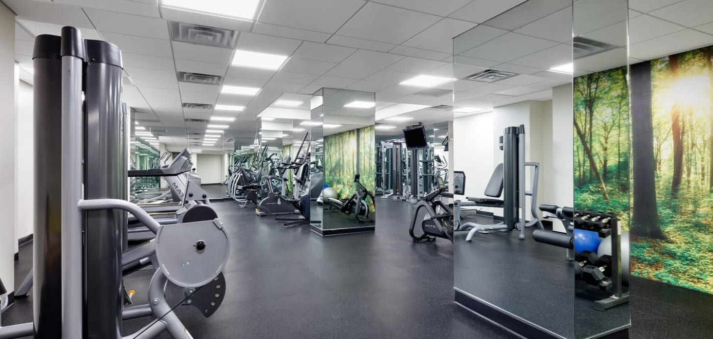 Spacious fitness center at The Ellington in New York, New York