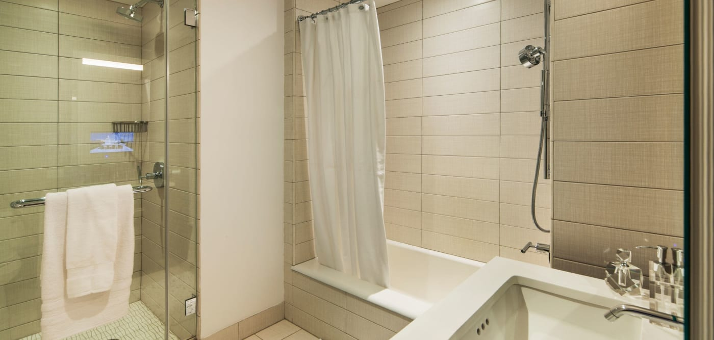 Large bathroom with a tub and a separate shower at The Larstrand in New York, New York