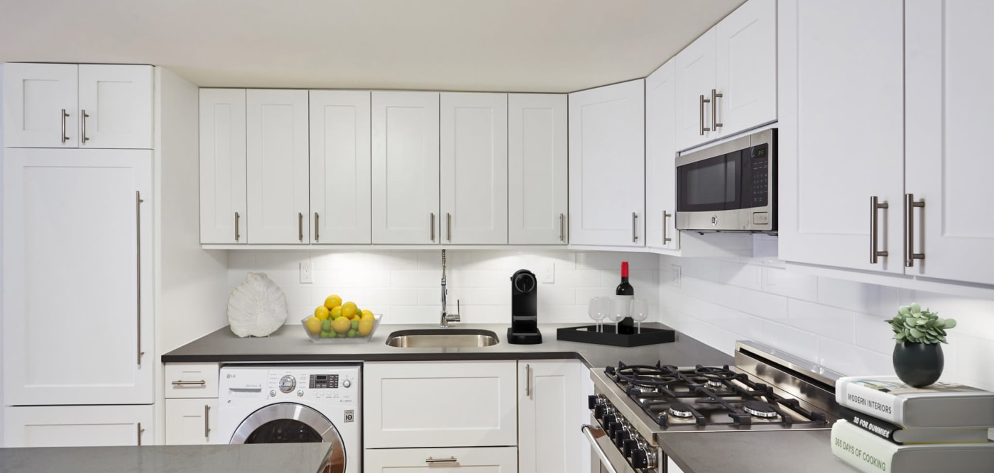 Large spacious kitchen with plenty of cabinetry at 210-220 E. 22nd Street in New York, New York