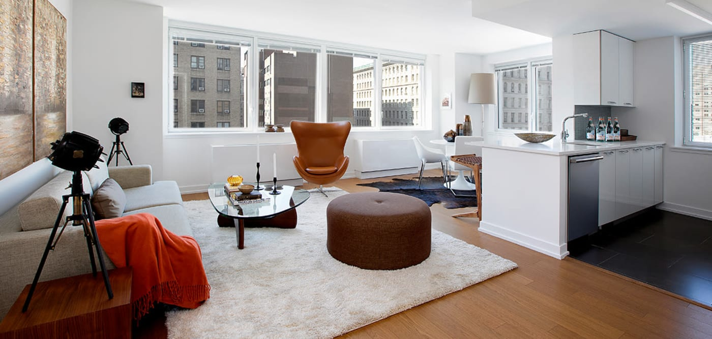 Spacious living room with a view at The Larstrand in New York, New York