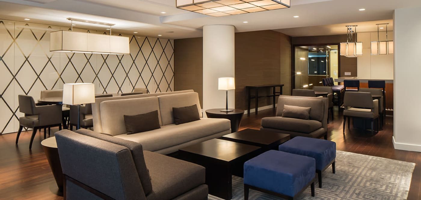 Clubhouse lounge with plenty of seating at The Larstrand in New York, New York