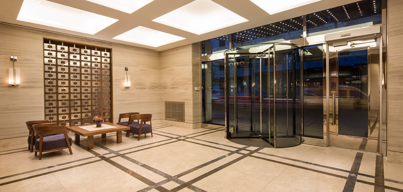 High-end entrance at The Larstrand in New York, New York