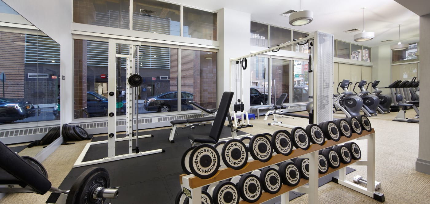 Fitness center with a weigh rack at 21 West Street in New York, New York