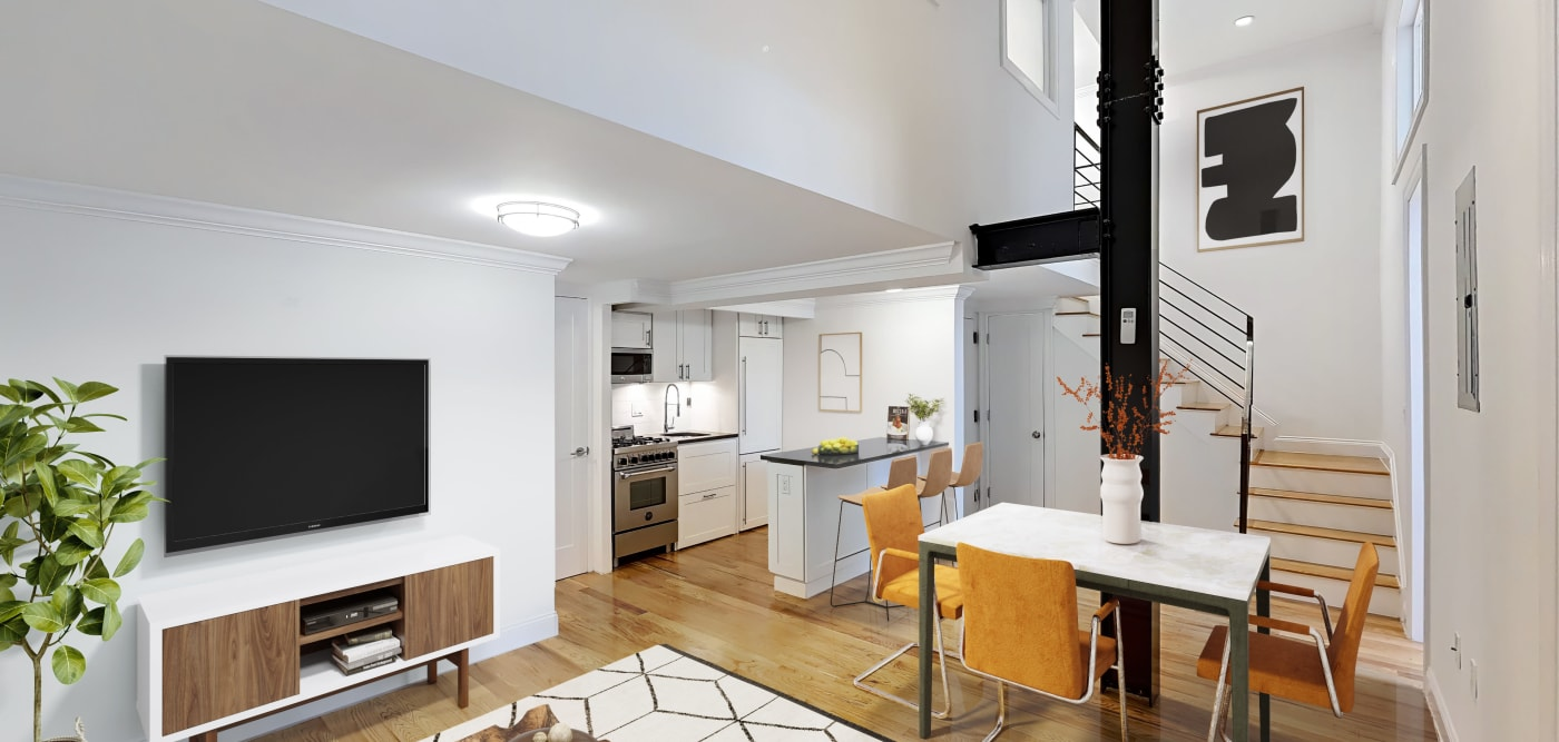 Living room area at 210-220 E. 22nd Street in New York, New York