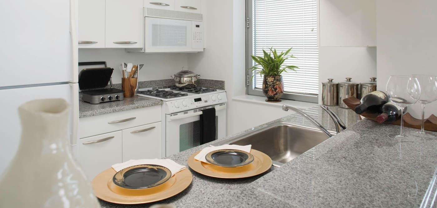 A luxury kitchen with stainless-steal appliances at The Metropolis in New York, New York