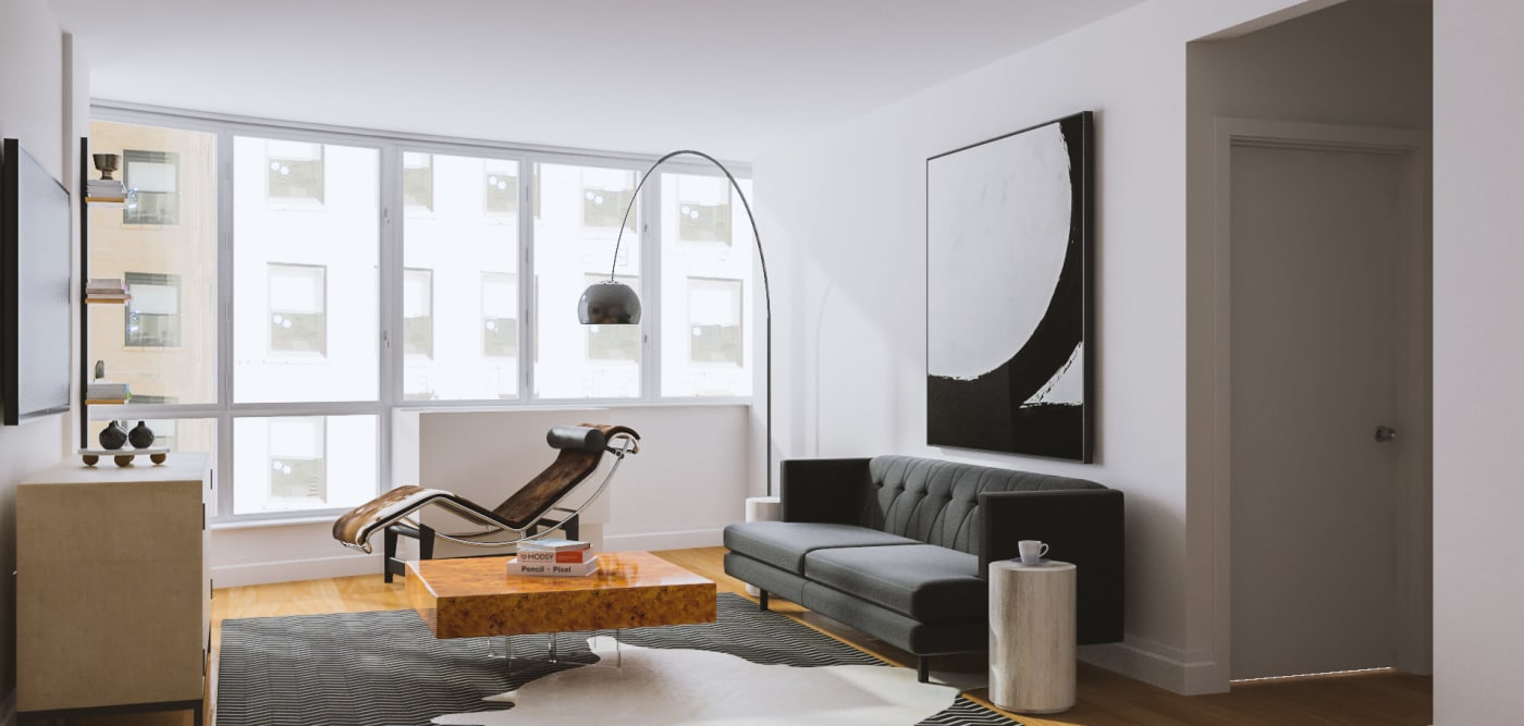 A modern living room with floor-to-ceiling windows at The Metropolis in New York, New York