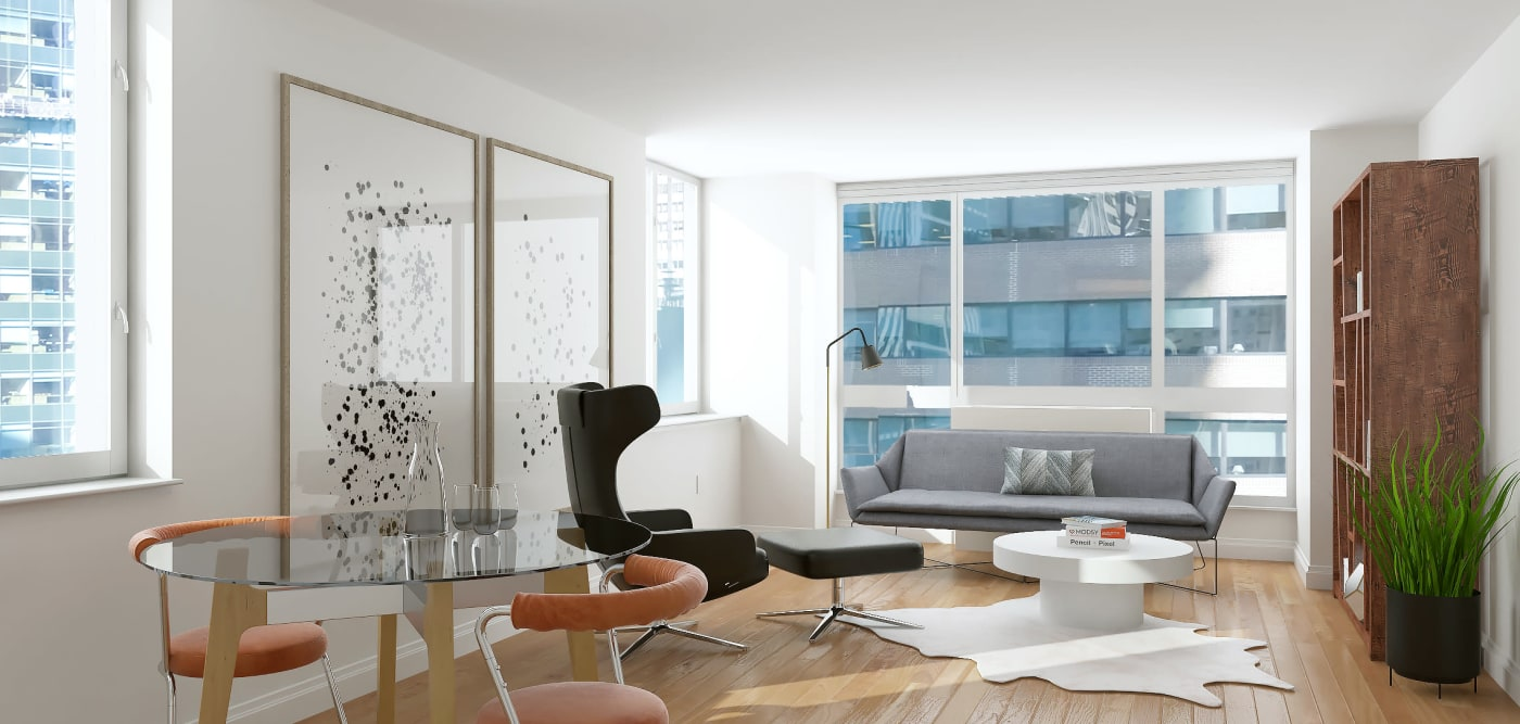 A large living room with floor-to-ceiling windows at The Metropolis in New York, New York