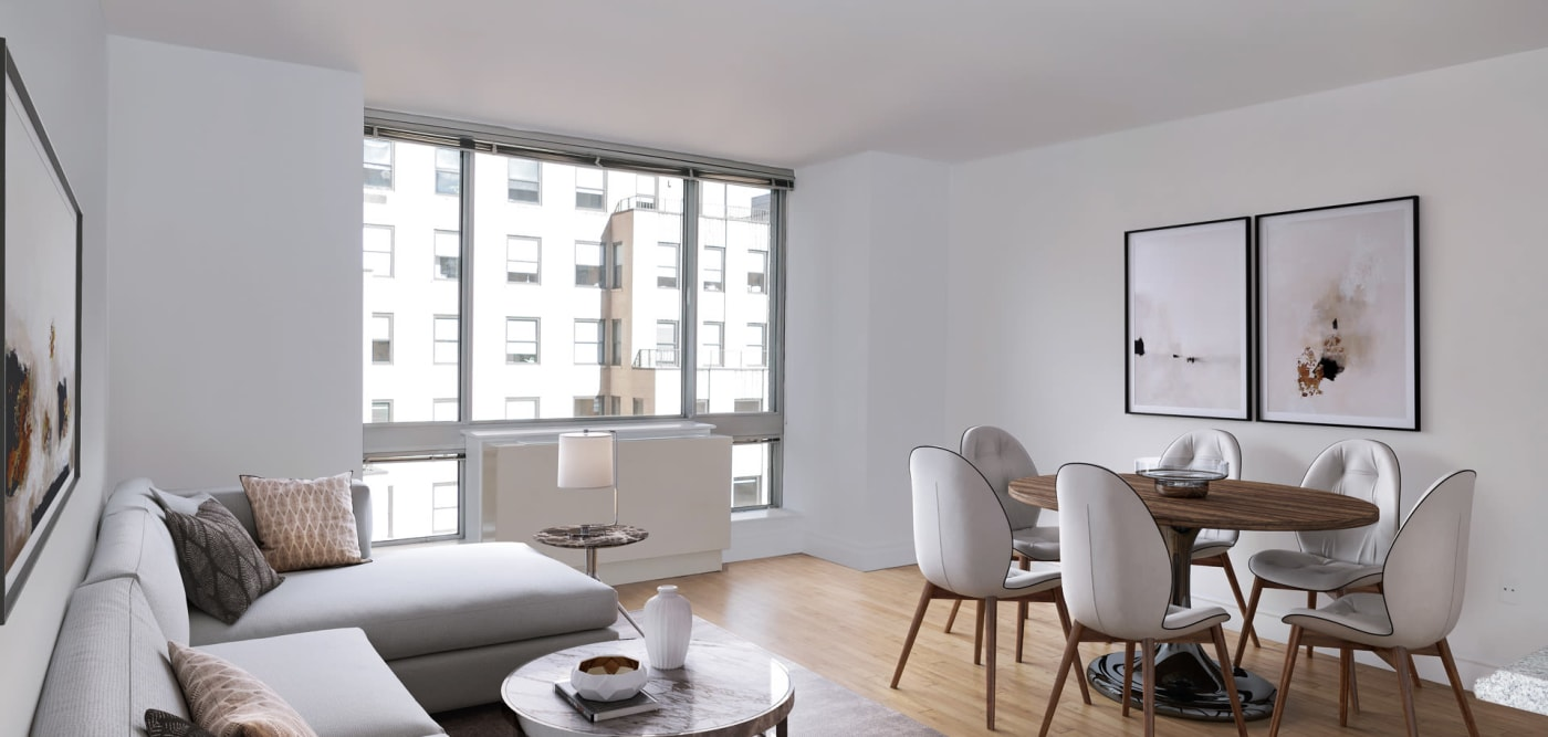 An open-concept floor plan at The Metropolis in New York, New York
