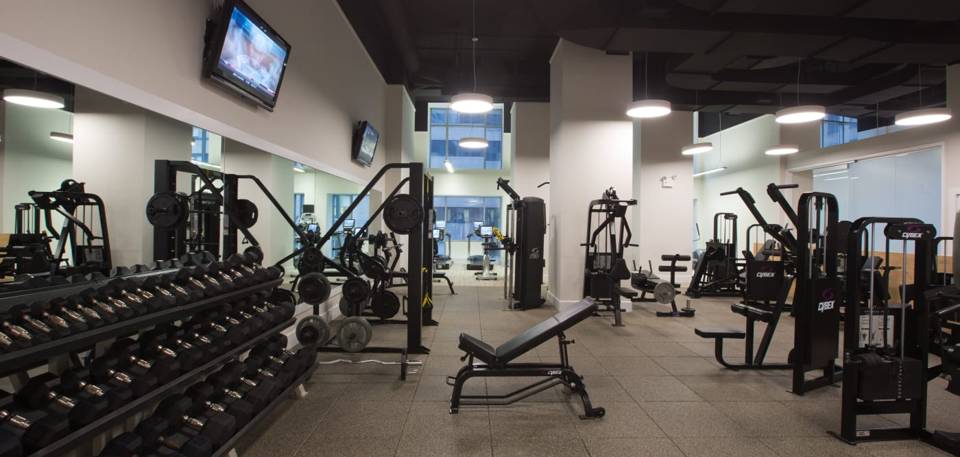 A large fitness center with a weight rack at The Metropolis in New York, New York