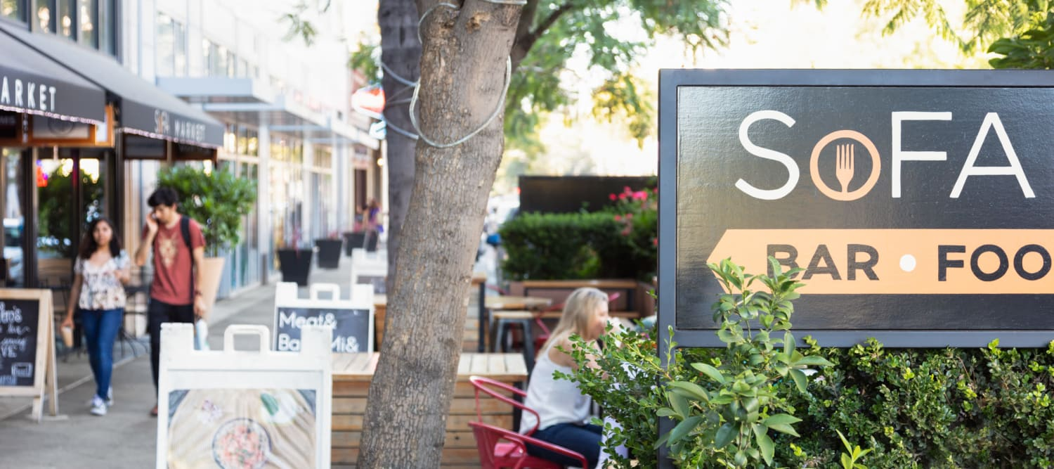 Many cafes, bars and restaurants in downtown San Jose