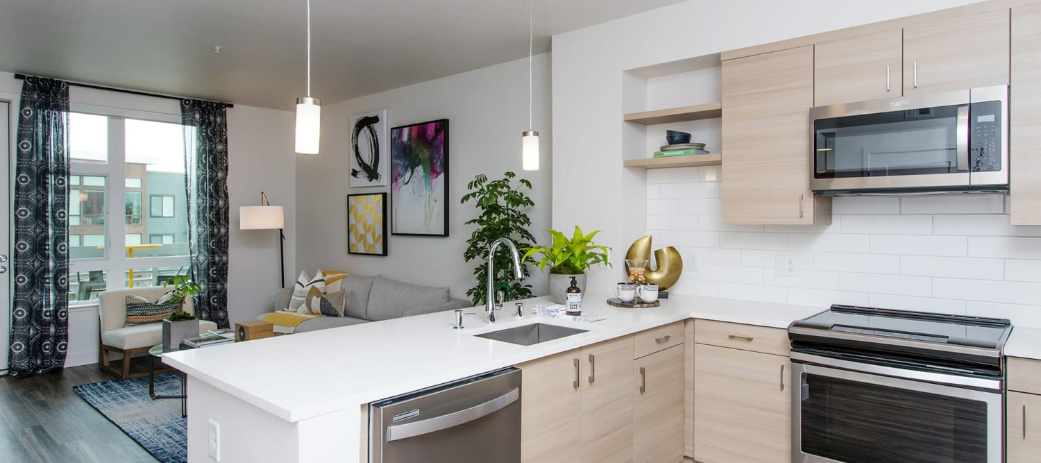 Spacious kitchen and living space at Sparq
