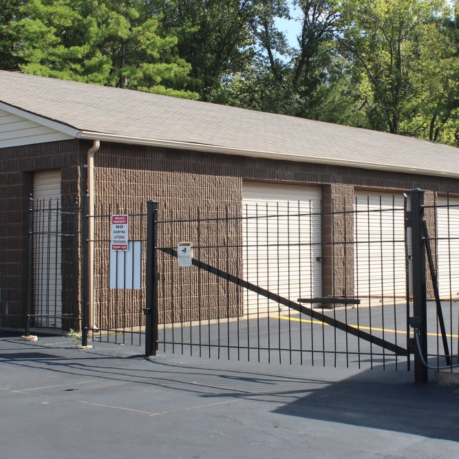 Gated entrance at A Shur-Lock Self Storage in Lake St. Louis, Missouri