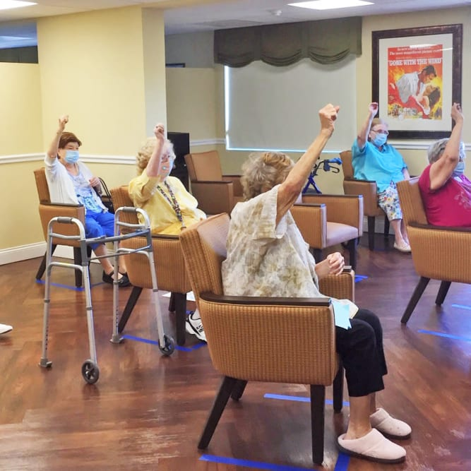 Residents exercising