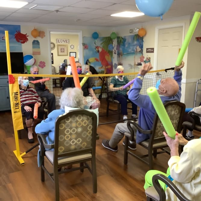 residents taking a fitness class