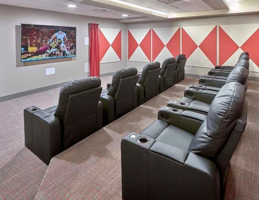Onsite theater for residents at The Maverick in Burien, WA