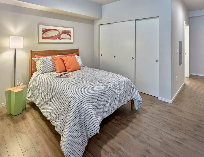 Model bedroom at The Maverick in Burien, WA