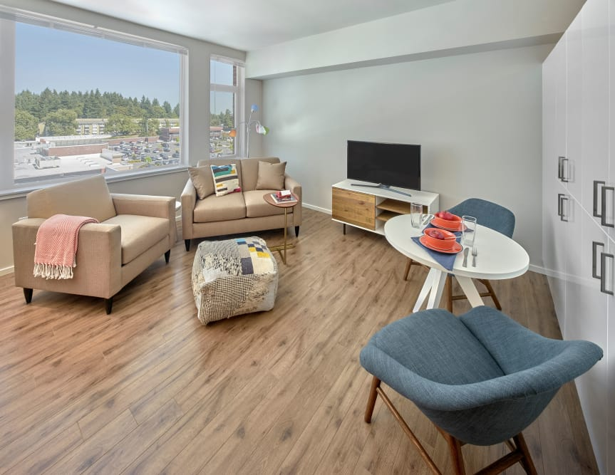 Open concept living room at The Maverick in Burien, WA