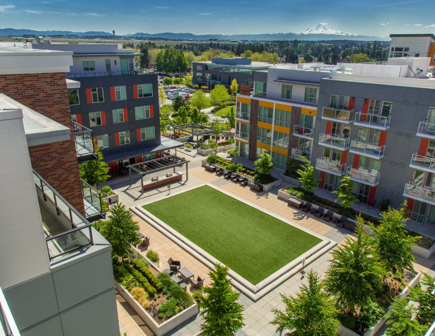 Aerial View of the Outdoor Courtyard at The Maverick in Burien, WA