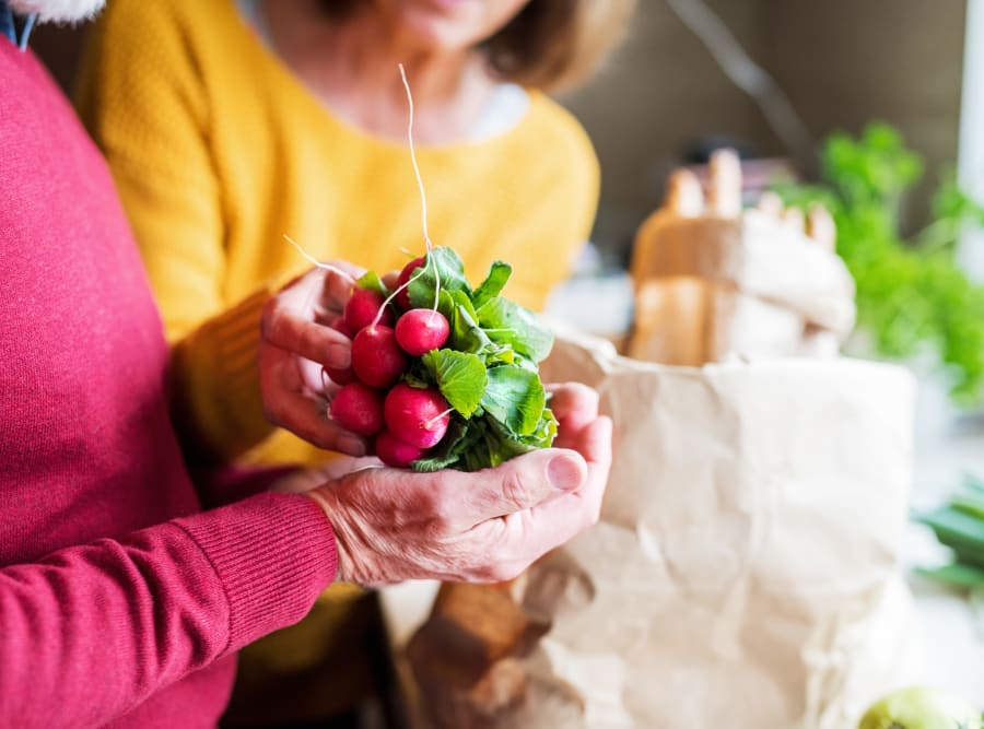 Residents with fresh ingredients at The Meridian at Boca Raton in Boca Raton, Florida