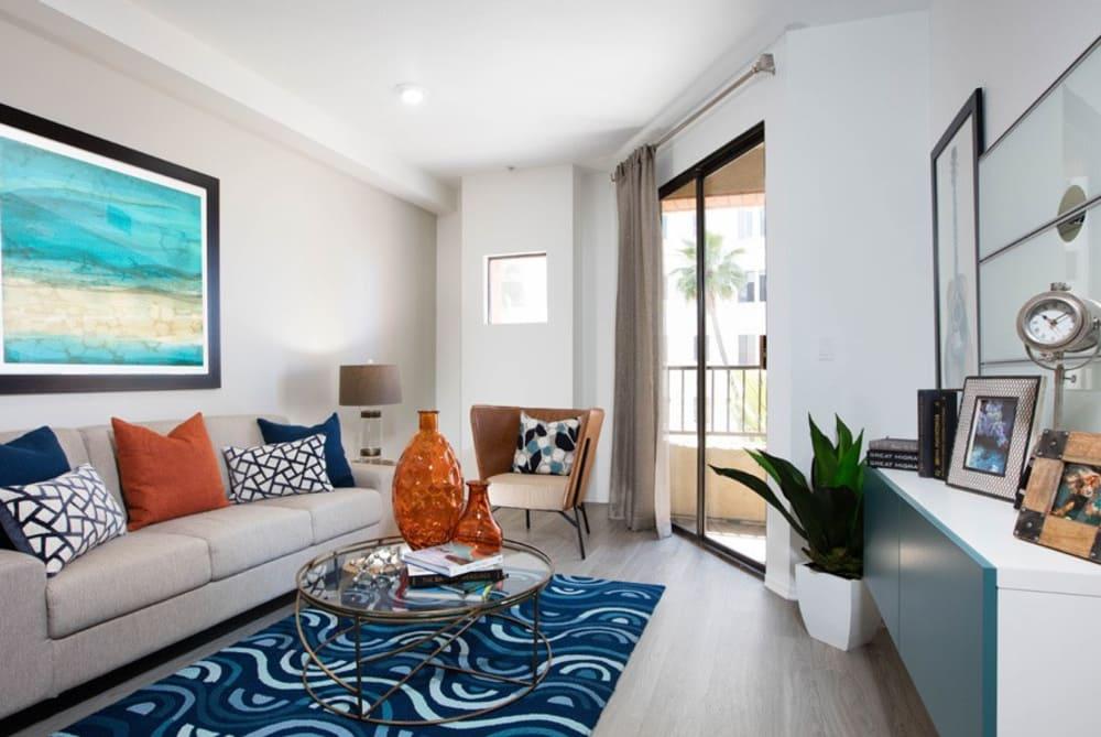 Spacious living room at Sofi at 3rd in Long Beach, CA