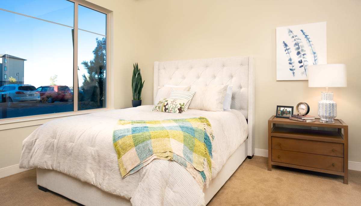 An apartment bedroom at Touchmark on Saddle Drive in Helena, Montana