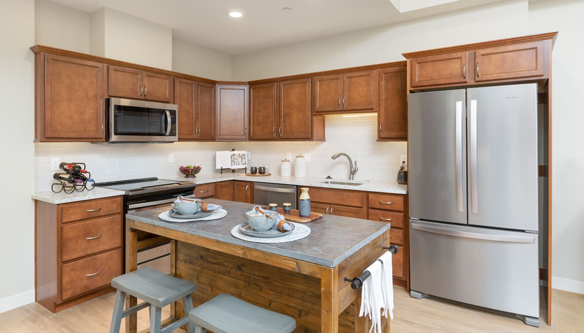 Stainless steel appliances in an apartment kitchen at Touchmark on Saddle Drive in Helena, Montana