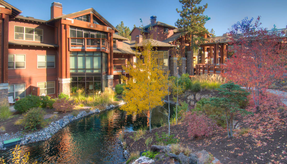 A man made river flowing along side the river lodge at Touchmark at Mount Bachelor Village in Bend, Oregon