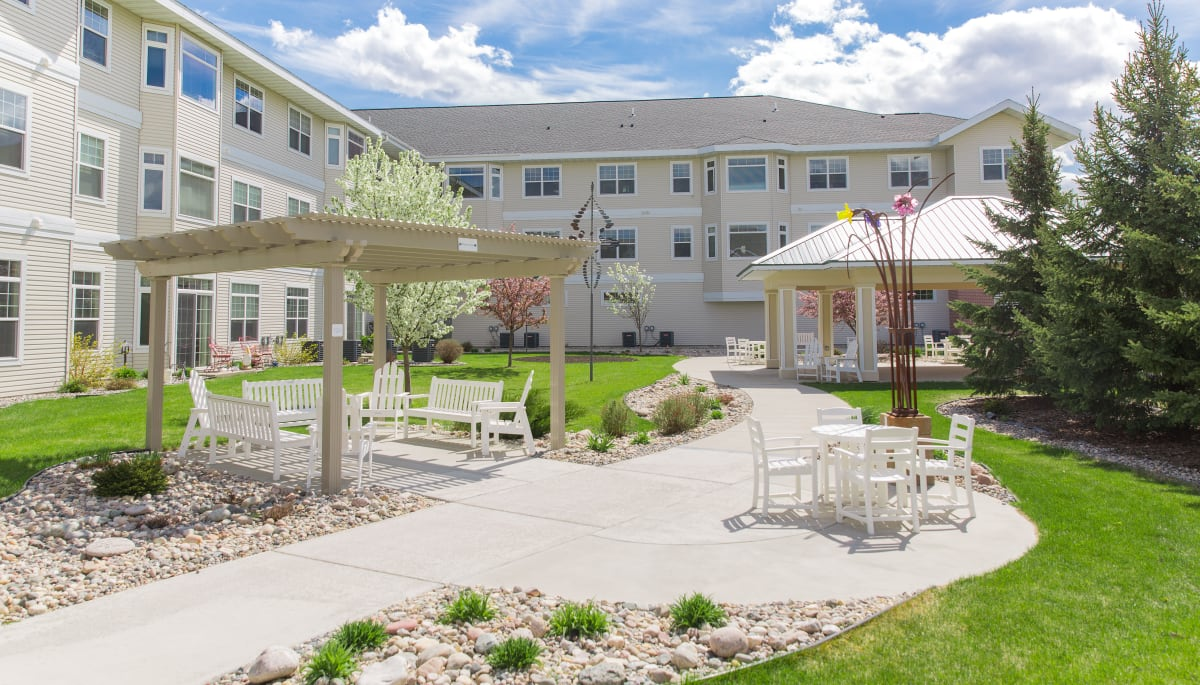 The community courtyard at Touchmark at Harwood Groves in Fargo, North Dakota