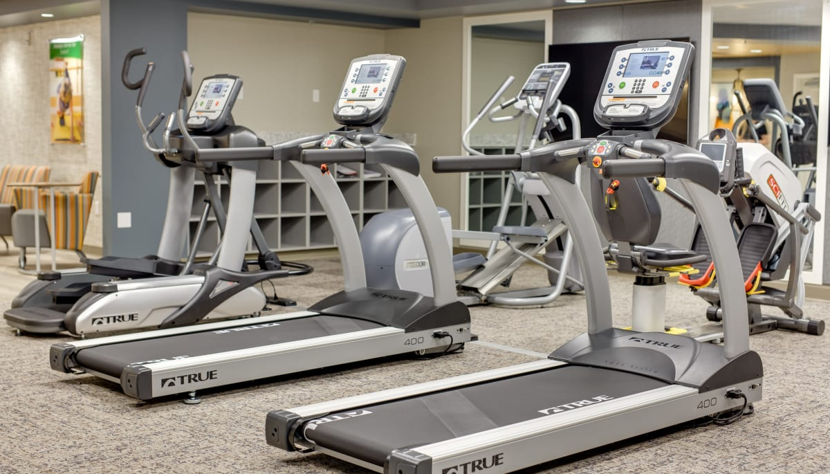 The community exercise room at Touchmark at Coffee Creek in Edmond, Oklahoma