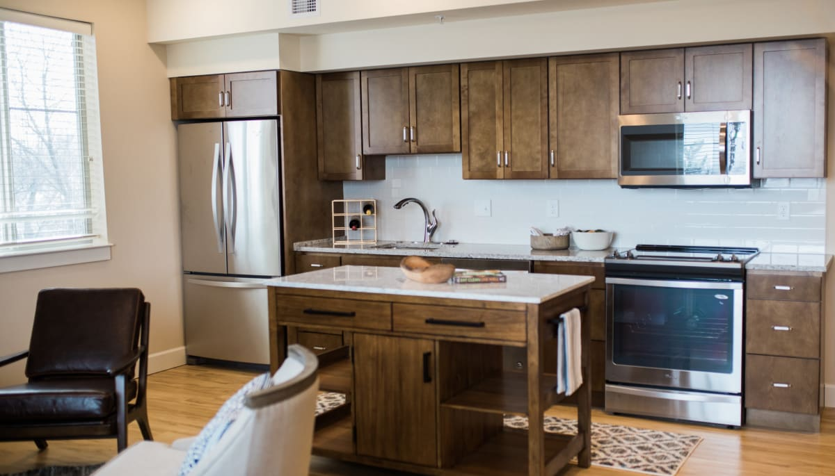 An apartment kitchen at Touchmark at All Saints in Sioux Falls, South Dakota